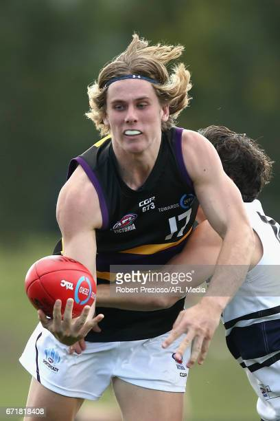 Nathan Oakes of the Bushrangers is tackled during the round four TAC Cup match between the Northern Knights and the Murray Bushrangers at RAMS Arena...