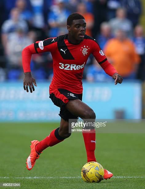 Nathan Oduwa of Rangers controls the ball during the Scottish Championships match between Greenock Morton FC and Rangers at Cappielow Park on...
