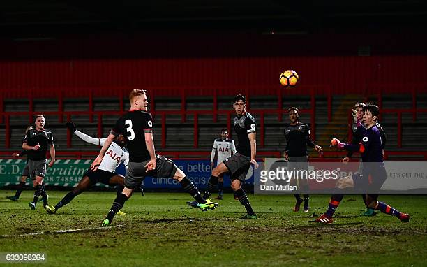 Nathan Oduwa of Tottenham Hotspur scores his side's first goal during the Premier League Two match between Tottenham Hotspur and Southampton at The...