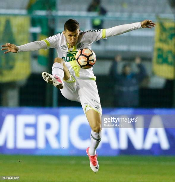 Nathan of Chapecoense controls the ball during a first leg match between Defensa y Justicia and Chapecoense as part of second round of Copa Conmebol...