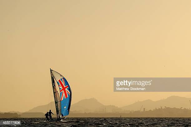 Nathan Outteridge and Iain Jensen of Australia sail on Guanabara Bay during the Mens 49er Class as part of the Aquece Rio International Sailing...