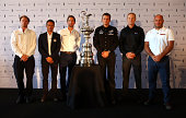 Nathan Outteridge Franck Cammas Sir Ben Ainslie Dean Barker Jimmy Spithill and Max Sirena pose for photographers after the Americas Cup press...