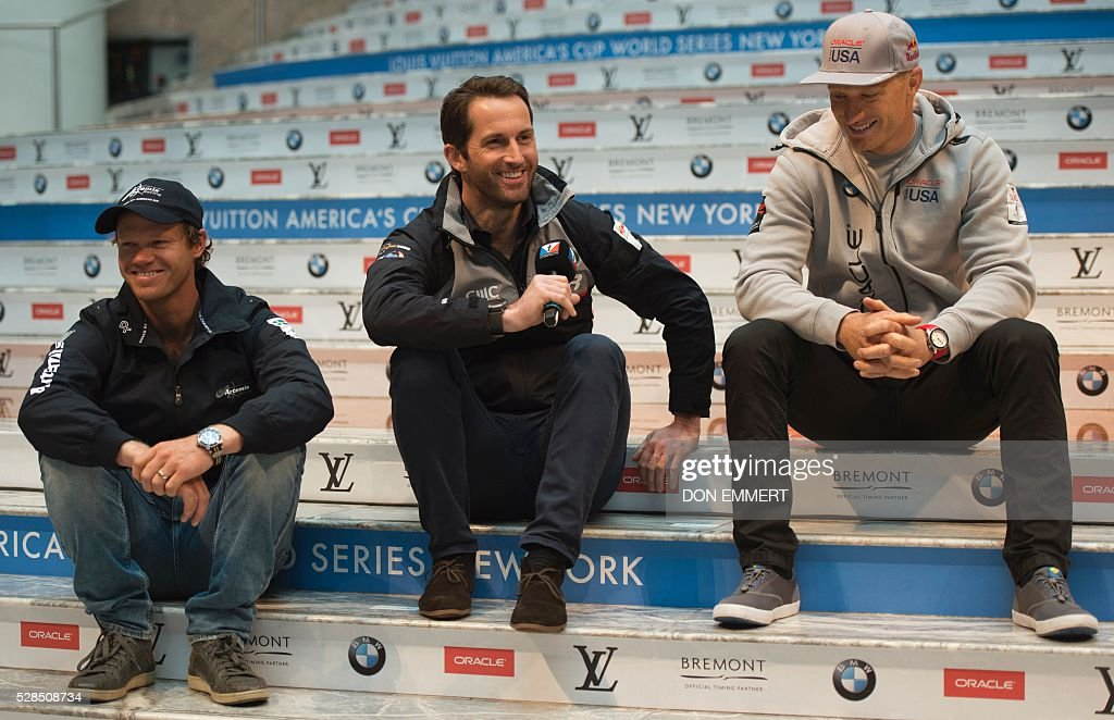 Nathan Outteridge (L), of Artemis Racing, Ben Ainsle (C), of Land Rover BAR, Jimmy Spithill, of Oracle Team USA, take questions at the Skippers news conference for the Louis Vuitton America's Cup World Series New York May 5, 2016 in New York. / AFP / DON