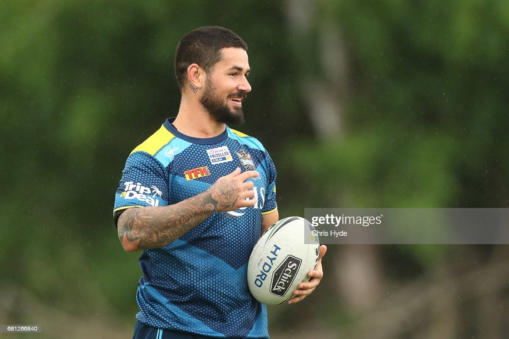 Nathan Peats looks on during a Gold Coast Titans NRL training session on May 10, 2017 in Gold Coast, Australia.