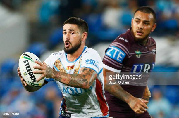 Nathan Peats of the Titans in action during the round 11 NRL match between the Gold Coast Titans and the Manly Sea Eagles at Cbus Super Stadium on...