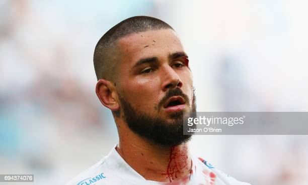 Nathan Peats of the titans looks on during the round 14 NRL match between the Gold Coast Titans and the New Zealand Warriors at Cbus Super Stadium on...