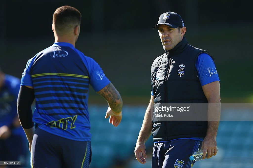 Nathan Peats speaks to City coach Brad Fittler during a City NSW Origin training session at Leichhardt Oval on May 3, 2016 in Sydney, Australia.