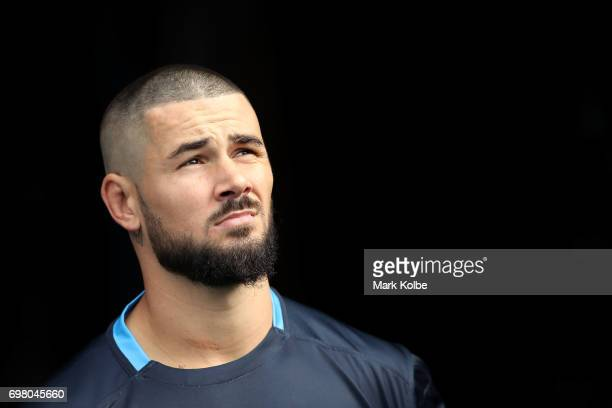 Nathan Peats walks out onto the field during a New South Wales Blues State of Origin captain's run at ANZ Stadium on June 20 2017 in Sydney Australia