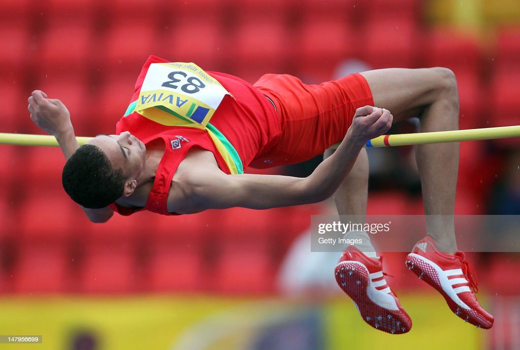 Nathan Petch competes in the Senior Boys High Jump Final during day one of the Aviva English Schools Track and Field Championships at the Gateshead International Stadium on July 6, 2012 in Gateshead, England. Search Aviva Athletics on Facebook to Back The Team.