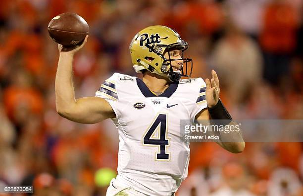 Nathan Peterman of the Pittsburgh Panthers drops back to pass against the Clemson Tigers during their game at Memorial Stadium on November 12 2016 in...