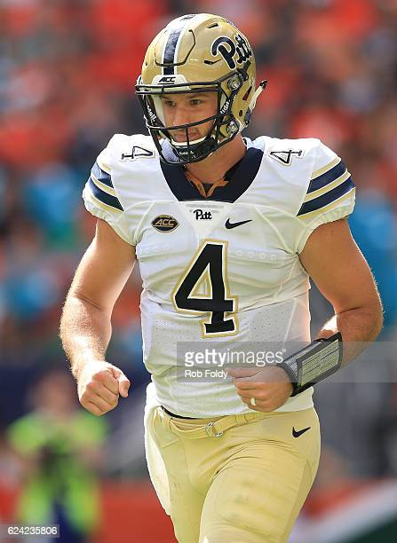Nathan Peterman of the Pittsburgh Panthers during the game against the Miami Hurricanes at Hard Rock Stadium on November 5 2016 in Miami Gardens...