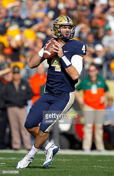 Nathan Peterman of the Pittsburgh Panthers in action during the game against the Miami Hurricanes on November 27 2015 at Heinz Field in Pittsburgh...