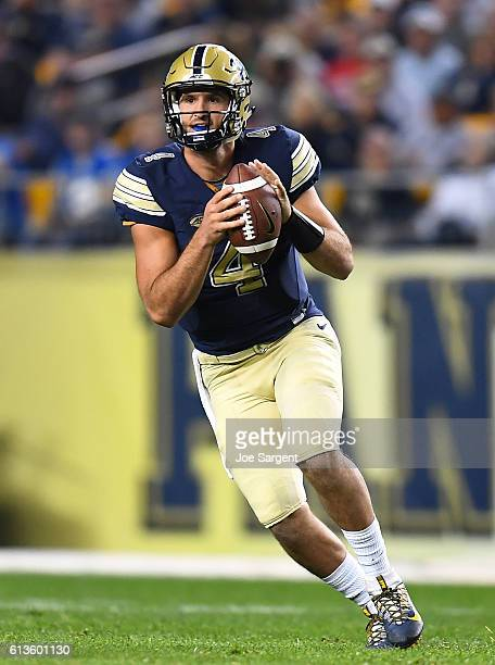 Nathan Peterman of the Pittsburgh Panthers in action during the game against the Marshall Thundering Herd at Heinz Field on October 1 2016 in...