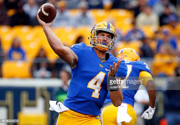 Nathan Peterman of the Pittsburgh Panthers in action during the game against Georgia Tech on October 8 2016 at Heinz Field in Pittsburgh Pennsylvania
