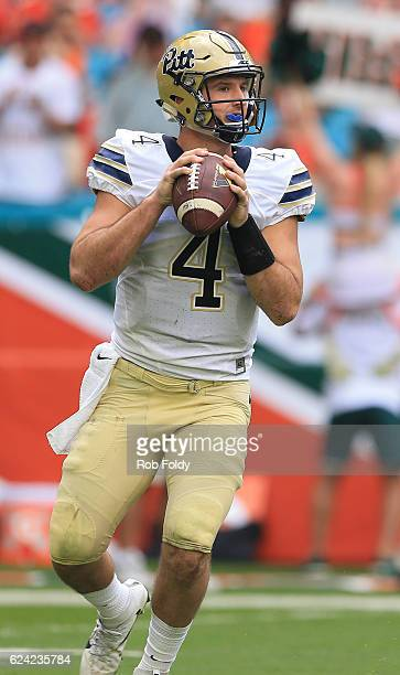 Nathan Peterman of the Pittsburgh Panthers in action during the game against the Miami Hurricanes at Hard Rock Stadium on November 5 2016 in Miami...