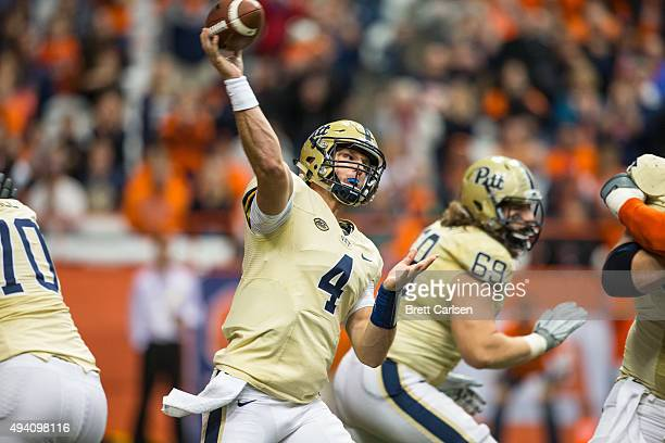 Nathan Peterman of the Pittsburgh Panthers passes the ball during the second half against the Syracuse Orange on October 24 2015 at The Carrier Dome...