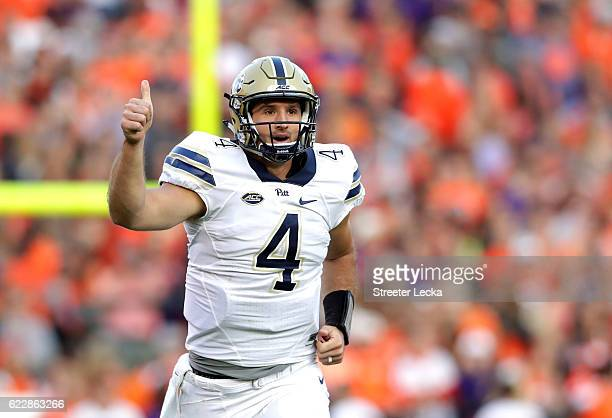 Nathan Peterman of the Pittsburgh Panthers reacts after throwing a touchdown against the Clemson Tigers during their game at Memorial Stadium on...