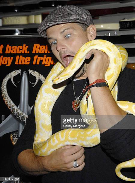 Nathan Phillips during Nathan Phillips and Jules Sylvester Visit the Hard Rock Cafe with Snakes from 'Snakes on a Plane' at Hard Rock Cafe in New...
