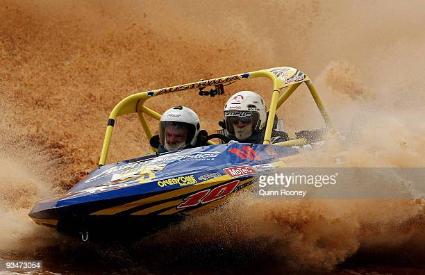 Nathan Pretty and Ron Dixon of Australia compete in their boat True Blue during the 2009 World Jetsprint Championships at the Melton Motorsports...