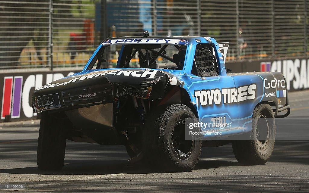 Nathan Pretty of Australia crashes during the Stadium Super Trucks Series ahead of the V8 Supercars Clipsal 500 at Adelaide Street Circuit on February 26, 2015 in Adelaide, Australia.