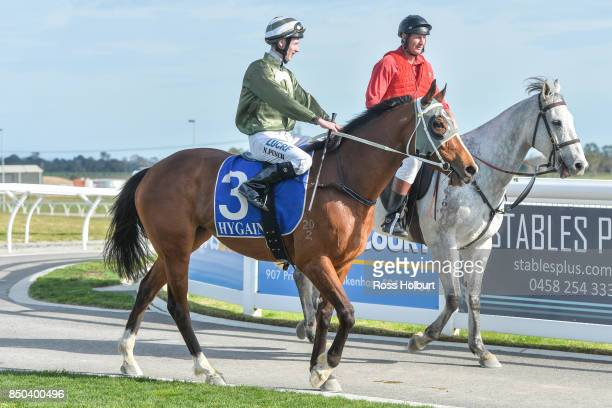 Nathan Punch returns to the mounting yard on Reigning in Paris after winning the Pakenham Produce BM58 Handicap at Racingcom Park Synthetic...