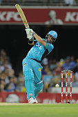 Nathan Reardon of the Heat bats during the Big Bash League match between the Brisbane Heat and the Melbourne Stars at The Gabba on December 28 2014...