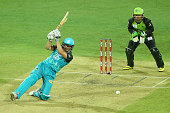 Nathan Reardon of the Heat bats during the Big Bash League match between the Brisbane Heat and the Sydney Thunder at The Gabba on January 3 2016 in...