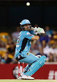 Nathan Reardon of the Heat ducks under a high ball during the Big Bash League match between the Brisbane Heat and Hobart Hurricanes at The Gabba on...