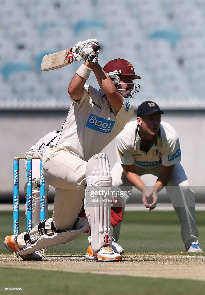 Nathan Reardon of the the Queensland Bulls hits the ball during day one of the Sheffield Shield match between the Victorian Bushrangers and the Queensland Bulls at Melbourne Cricket Ground on February 18, 2013 in Melbourne, Australia.