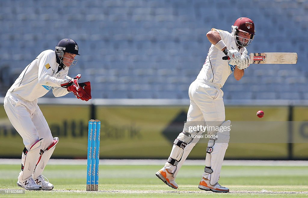 Nathan Reardon of the the Queensland Bulls hits the ball in front of keeper Peter Handscomb of the Bushrangers during day one of the Sheffield Shield match between the Victorian Bushrangers and the Queensland Bulls at Melbourne Cricket Ground on February 18, 2013 in Melbourne, Australia.