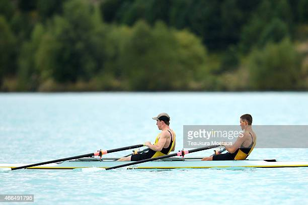 Nathan Redai and Riley Bruce of Wanaka compete in the Boys under16 double sculls during the South Island Club Championships at Lake Ruataniwha on...