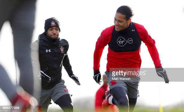 Nathan Redmond and Virgil Van Dijk during a Southampton FC training session at the Staplewood Campus on December 8 2017 in Southampton England