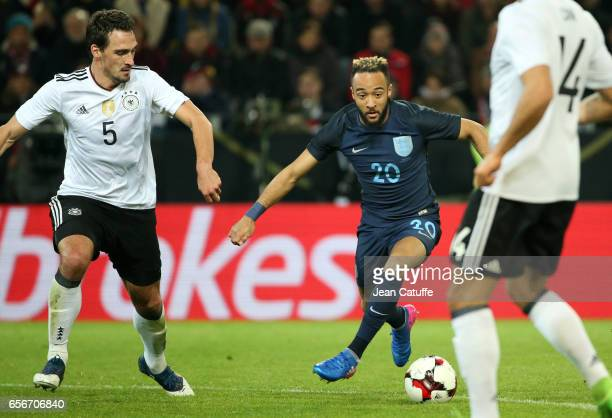 Nathan Redmond of England and Mats Hummels of Germany in action during the international friendly match between Germany and England at Signal Iduna...