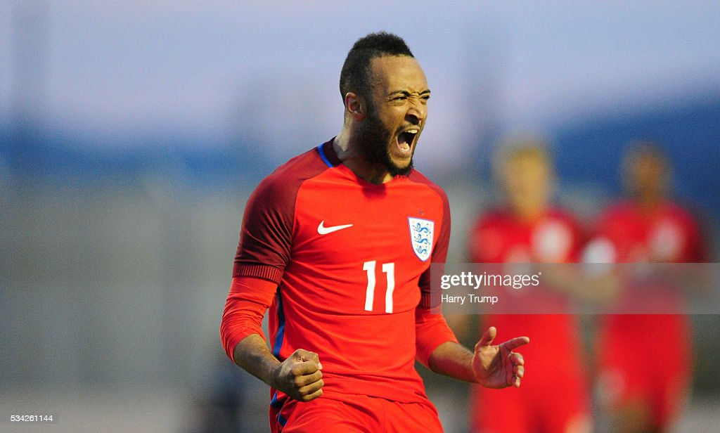Nathan Redmond of England celebrates after scoring his sides fourth goal during the Toulon Tournament match between Paraguay and England at Stade Antoinr Baptiste on May 25, 2016 in Six-Fours-Les-Plages, France.