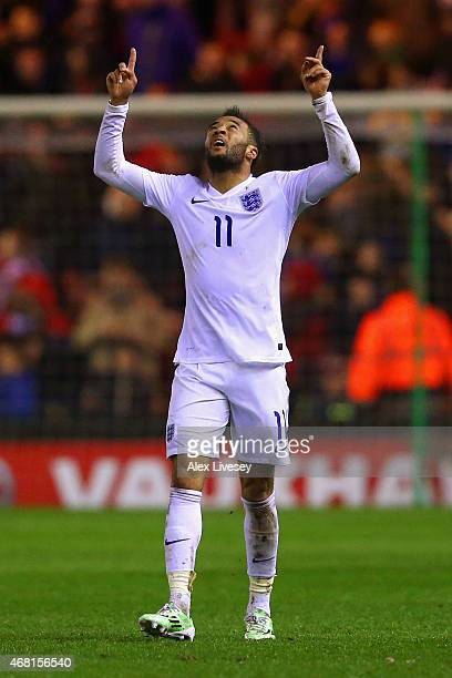 Nathan Redmond of England celebrates scoring their second goal during the international friendly between England Under 21 and Germany Under 21 at...