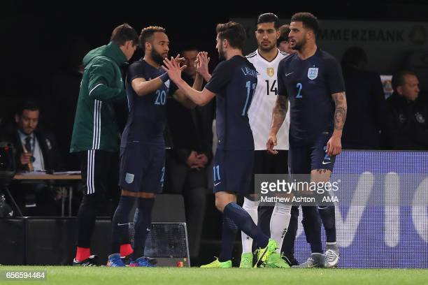 Nathan Redmond of England comes on as a substitute for Adam Lallana during the international friendly match between Germany and England at Signal...