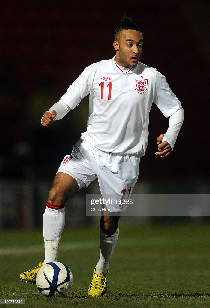 Nathan Redmond of England U19 in action during the International Match between England U19 and Denmark U19 at Keepmoat Stadium on February 5, 2013 in Doncaster, England.