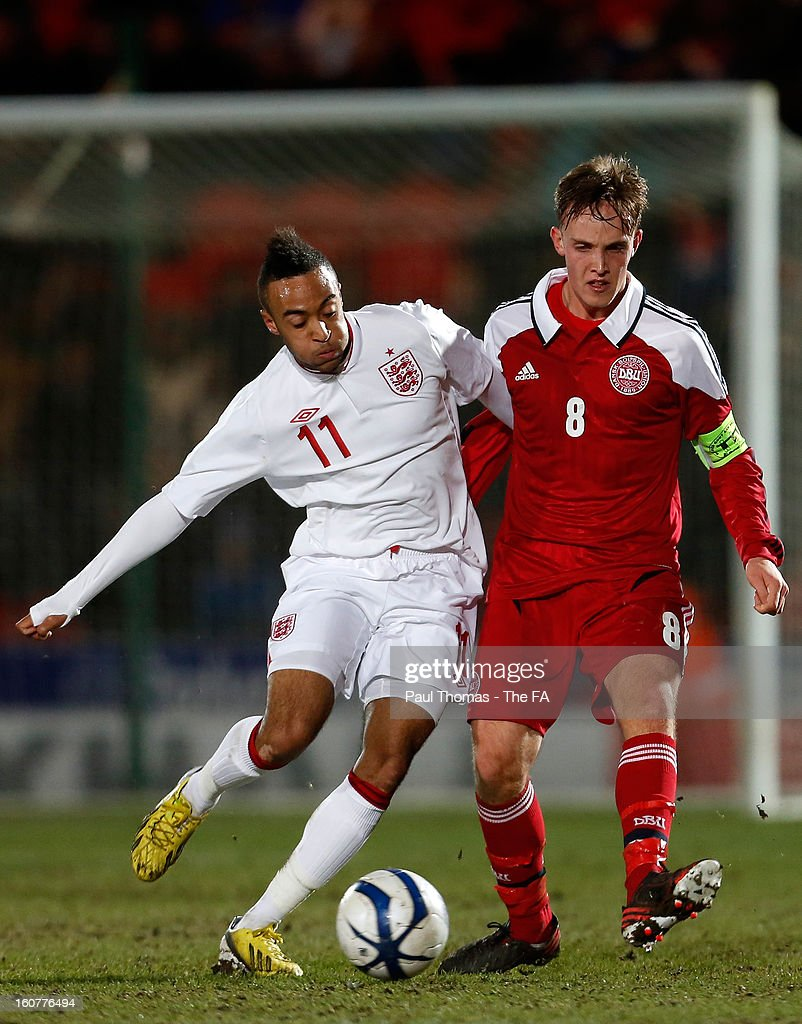 Nathan Redmond (L) of England U19 in action with Lasse Vigen Christensen of Denmark U19 during the International U19 match between England and Scotland at the Keepmoat Stadium on February 5, 2013 in Doncaster, England.