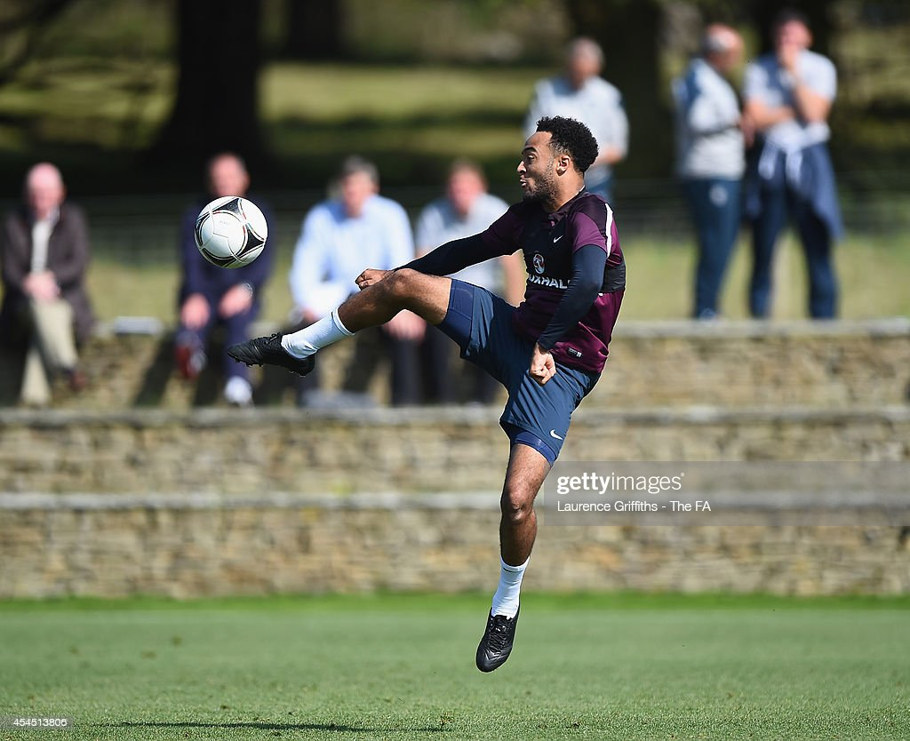 Nathan Redmond of England U21 in action during a training session at St Georges Park on September 2 2014 in BurtonuponTrent England