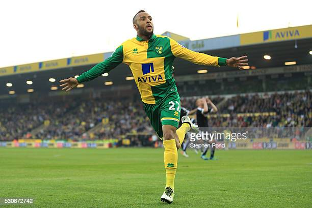 Nathan Redmond of Norwich City celebrates scoring his team's opening goal during the Barclays Premier League match between Norwich City and Watford...