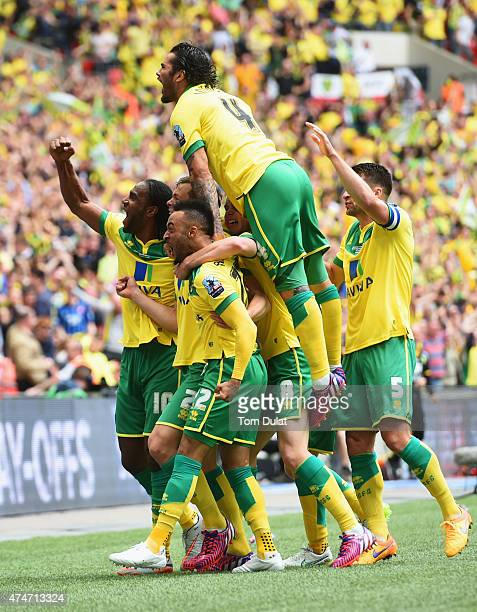 Nathan Redmond of Norwich City celebrates with team mates as he scores their second goal during the Sky Bet Championship Playoff Final between...