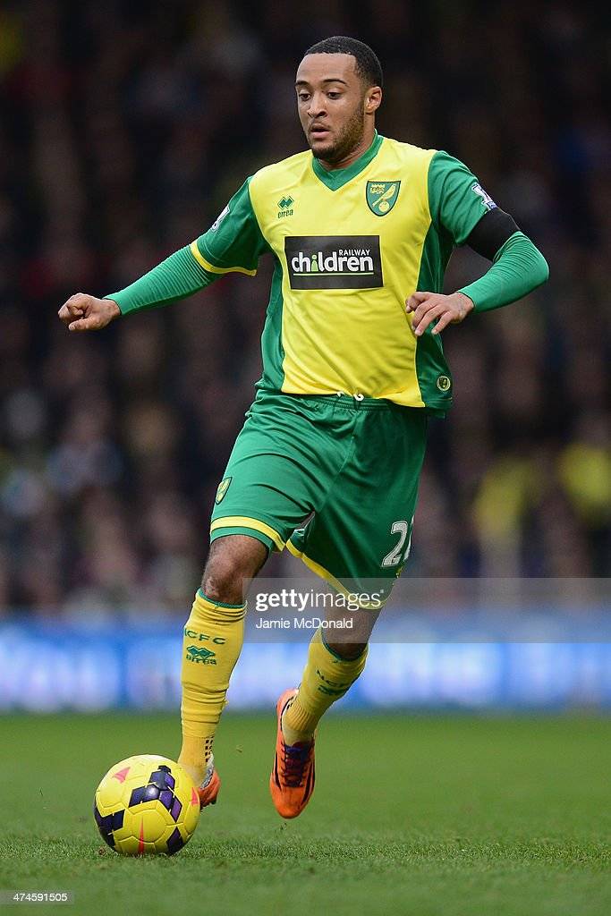 <a gi-track='captionPersonalityLinkClicked' href=/galleries/search?phrase=Nathan+Redmond&family=editorial&specificpeople=6489095 ng-click='$event.stopPropagation()'>Nathan Redmond</a> of Norwich City in action during the Barclays Premier League match between Norwich City and Tottenham Hotspur at Carrow Road on February 23, 2014 in Norwich, England.