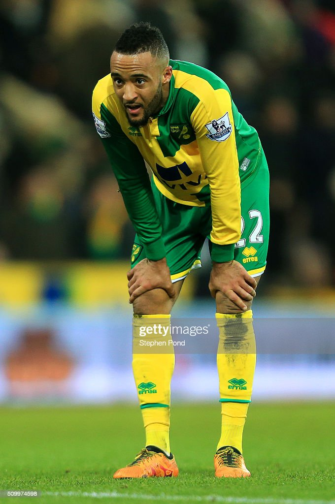 Hathan Redmond of Norwich City reacts after hsi team's 2-2 draw in the Barclays Premier League match between Norwich City and West Ham United at Carrow Road on February 13, 2016 in Norwich, England.