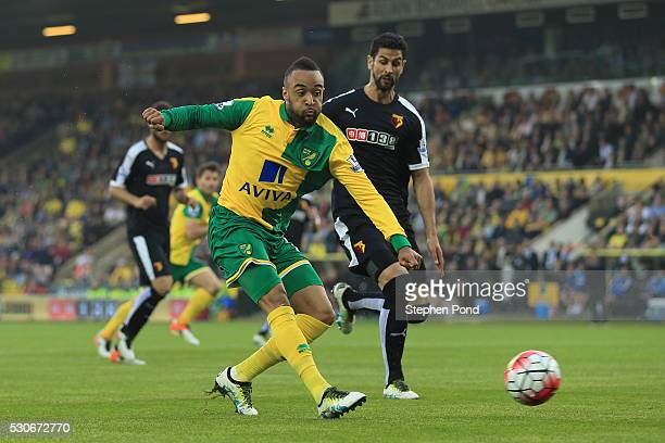 Nathan Redmond of Norwich City scores his team's opening goal during the Barclays Premier League match between Norwich City and Watford at Carrow...