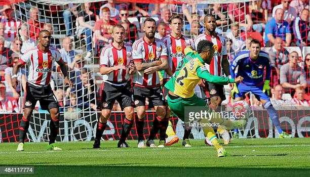 Nathan Redmond of Norwich takes a free kick during the Barclays Premier League match between Sunderland AFC and Norwich City at the Stadium of Light...