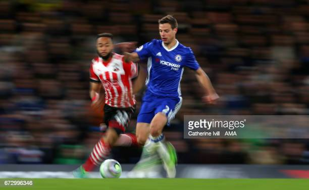 Nathan Redmond of Southampton and Cesar Azpilicueta of Chelsea during the Premier League match between Chelsea and Southampton at Stamford Bridge on...