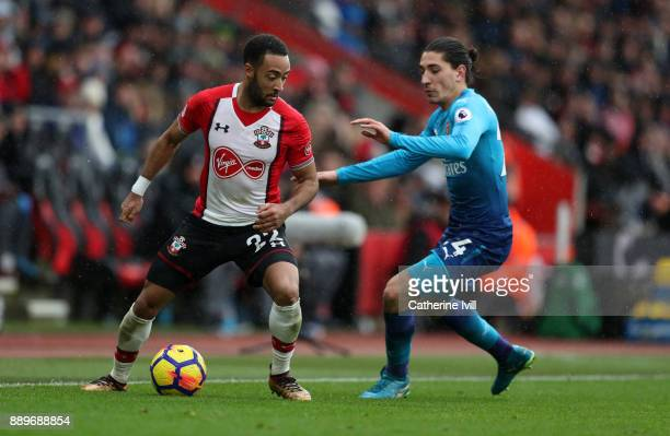 Nathan Redmond of Southampton and Hector Bellerin of Arsenal during the Premier League match between Southampton and Arsenal at St Mary's Stadium on...