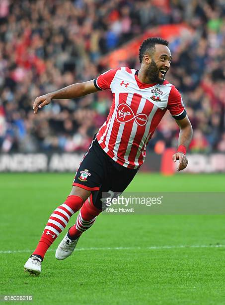 Nathan Redmond of Southampton celebrates as he scores their second goal during the Premier League match between Southampton and Burnley at St Mary's...