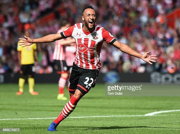 Nathan Redmond of Southampton celebrates scoring his sides first goal during the Premier League match between Southampton and Watford at St Mary's...