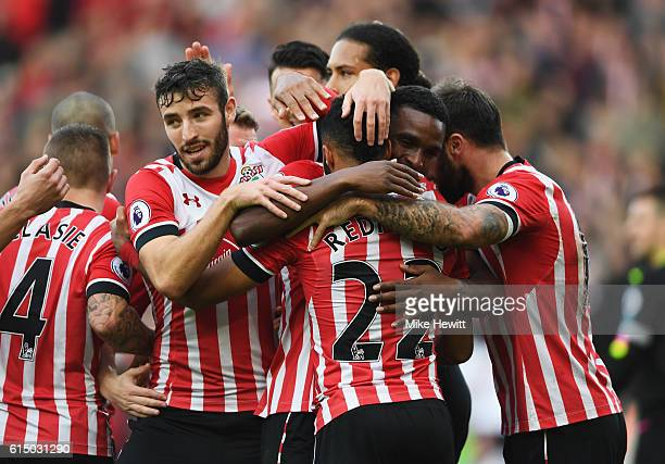 Nathan Redmond of Southampton celebrates with team mates as he scores their second goal during the Premier League match between Southampton and...